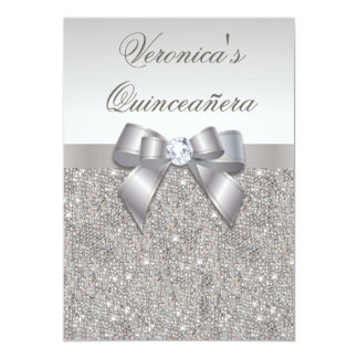 "Glamorous Quinceañera Faux Silver Sequins and Bow 5"" X 7"" Invitation Card"