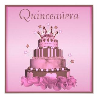 "Glamorous Quinceanera Princess Cake 5.25"" Square Invitation Card"