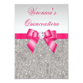 "Glamorous Quinceañera Silver Sequins Hot Pink Bow 5"" X 7"" Invitation Card"