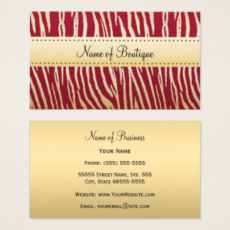 Glamorous Red and Gold Tiger Stripes Boutique Business Card