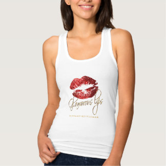 Glamorous Red Glitter Lips 2 Tank Top