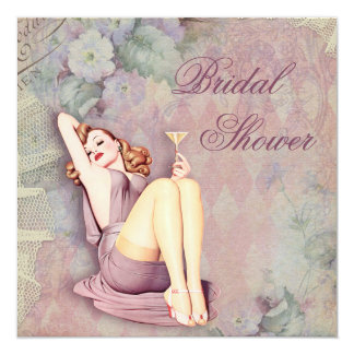 "Glamorous Retro Pin Up Girl Bridal Shower 5.25"" Square Invitation Card"