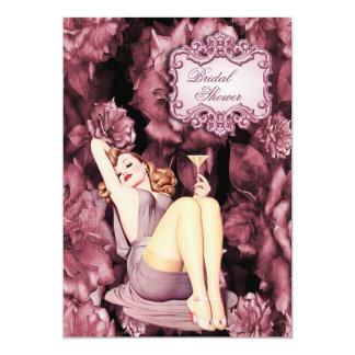 "Glamorous Retro Pin Up Girl Floral Bridal Shower 5"" X 7"" Invitation Card"