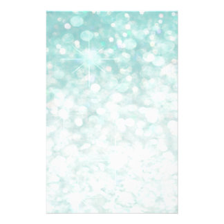 Glamorous Romantic Glittery sparkle pale teal Stationery