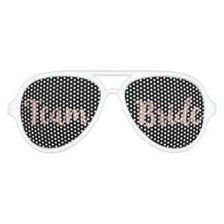 Glamorous Rose Gold Black Team Bride Sunglasses