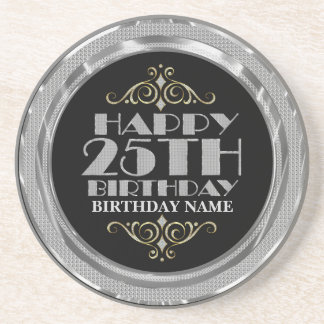 Glamorous Silver Glitter Happy 25th Birthday Coaster