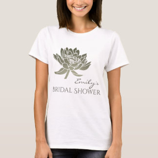 GLAMOROUS SILVER LOTUS BRIDAL SHOWER MONOGRAM T-Shirt