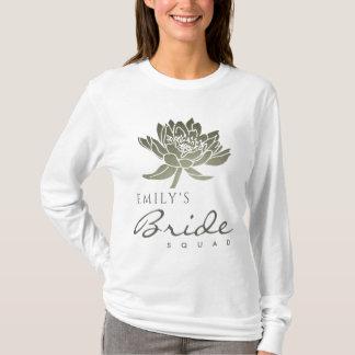 GLAMOROUS SILVER LOTUS BRIDE SQUAD MONOGRAM T-Shirt