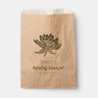 GLAMOROUS  SILVER LOTUS FLORAL BRIDAL SHOWER FAVOUR BAG