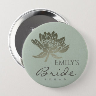 GLAMOROUS SKY BLUE SILVER LOTUS FLORAL BRIDE SQUAD 4 INCH ROUND BUTTON