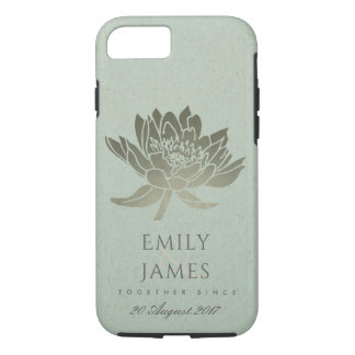 GLAMOROUS SKY BLUE SILVER LOTUS SAVE THE DATE GIFT iPhone 8/7 CASE