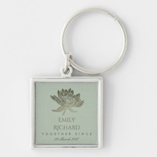 GLAMOROUS SKY BLUE SILVER LOTUS SAVE THE DATE GIFT KEYCHAIN