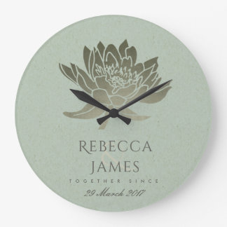 GLAMOROUS SKY BLUE SILVER LOTUS SAVE THE DATE GIFT LARGE CLOCK