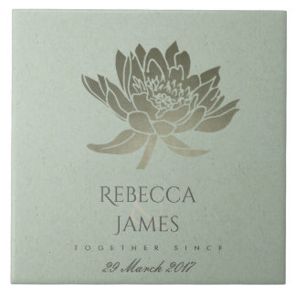 GLAMOROUS SKY BLUE SILVER LOTUS SAVE THE DATE GIFT TILE