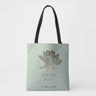 GLAMOROUS SKY BLUE SILVER LOTUS SAVE THE DATE GIFT TOTE BAG