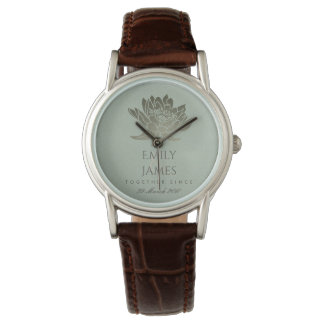 GLAMOROUS SKY BLUE SILVER LOTUS SAVE THE DATE GIFT WATCH