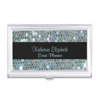 Glamorous Sparkly Glittery Glitzy Silver Bling Business Card Holder