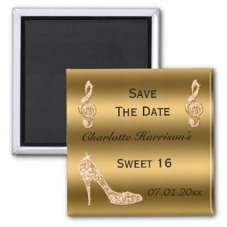 Glamorous Sweet 16 Save The Date Gold Stiletto Magnet