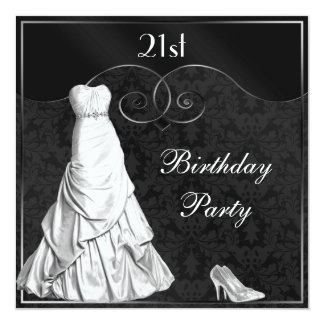 "Glamorous White Gown Black Silver 21st Birthday 5.25"" Square Invitation Card"