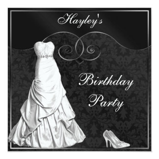 "Glamorous White Gown Black Silver Birthday Party 5.25"" Square Invitation Card"