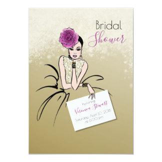 Glamour Bridal Shower Fasion Illustration Card