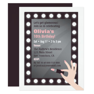 Glamour Chic Lights Makeup Girls Birthday Party Card