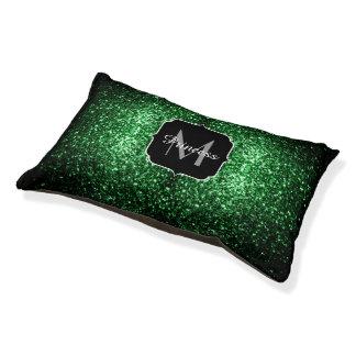 Glamour Dark Green glitter sparkles Monogram Pet Bed