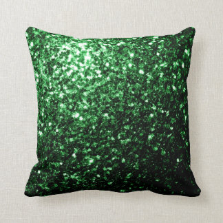 Glamour Dark Green glitter sparkles PLdesign Throw Pillow