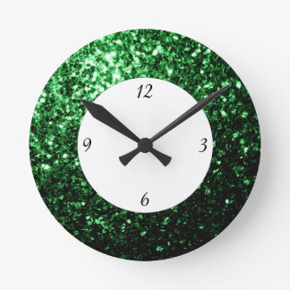 Glamour Dark Green glitter sparkles with numbers Round Clock