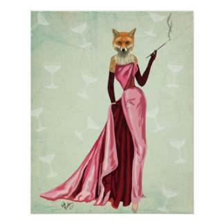 Glamour Fox in Pink Poster