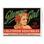 Glamour Girl California Vegetables Vintage Ad Greeting Cards