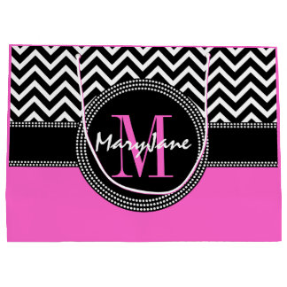 Glamour Girl Hot Pink and Black Chevron Monogram Large Gift Bag