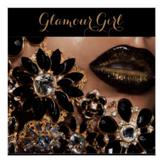 Glamour Girl Lipstick & Floral Jewels Poster