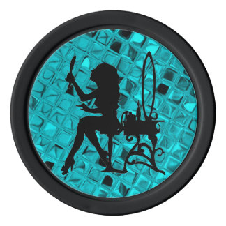 Glamour Girl Pretty is as Pretty Does Teal Diamond Poker Chip Set