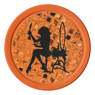 Glamour Girl Pretty is Pretty Does Orange Diamond Set Of Poker Chips