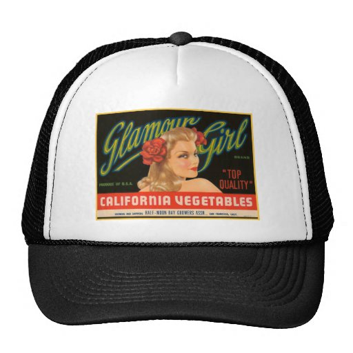 Glamour Girl Vegetables Crate Label Hats