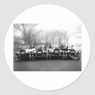 Glamour Girls & Classic Cars Vintage Photo Round Stickers