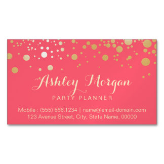 Glamour Gold Dots Decor - Charming Pink Coral Magnetic Business Card