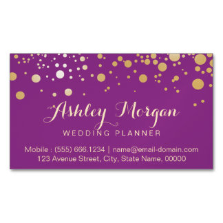 Glamour Gold Dots Decor - Stylish Violet Purple Magnetic Business Card
