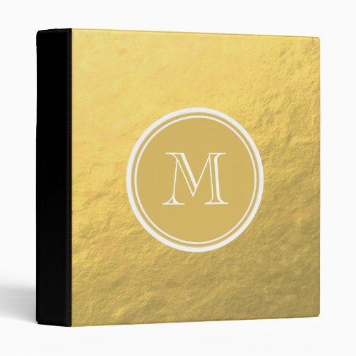 Glamour Gold Foil Background Monogram Vinyl Binder