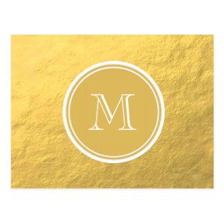 Glamour Gold Foil Background Monogram Postcard