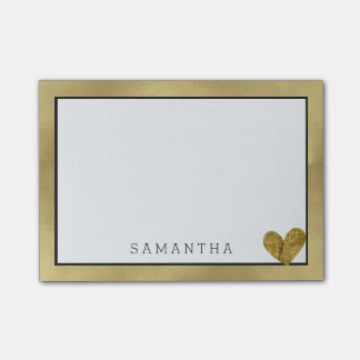 Glamour Gold with Heart Personalized Post-it Notes