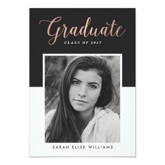 Glamour Graduation Invitations | Rose Gold