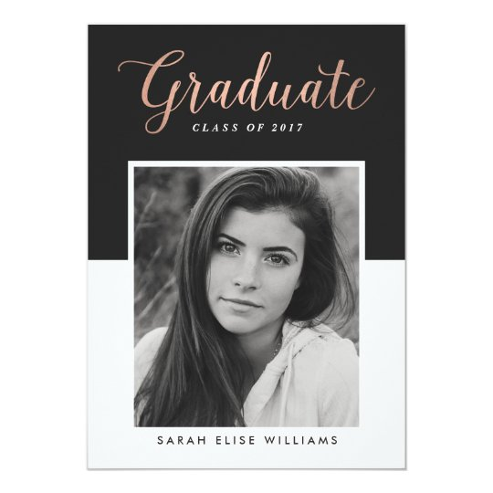 Glamour Graduation Invitations | Rose Gold