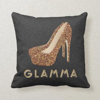 Glamour Grandma Glamma Gold Glitter High Heels Throw Pillow