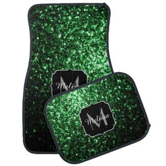 Glamour Green glitter sparkles Monogram Car Mat