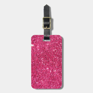 Glamour Hot Pink Glitter Luggage Tag