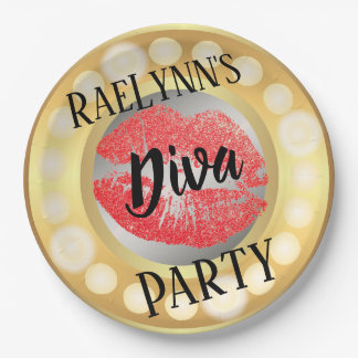 Glamour Lights & Glitter Red Lips Paper Plates