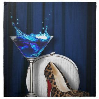 glamour martini cocktail party girl stilletos cloth napkin