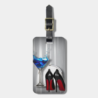 glamour martini cocktail party girl stilletos luggage tag
